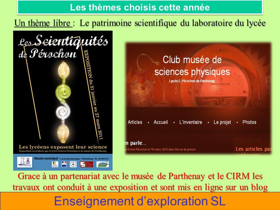 Les thèmes choisis cette année Un thème libre : Le patrimoine scientifique du laboratoire du lycée Grace à un partenariat avec le musée de Parthenay e