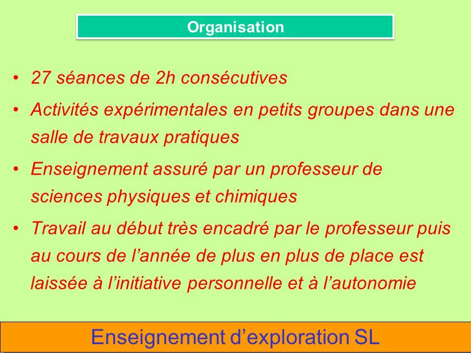 27 séances de 2h consécutives Activités expérimentales en petits groupes dans une salle de travaux pratiques Enseignement assuré par un professeur de