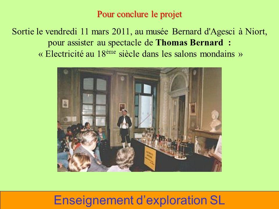 Enseignement dexploration SL Pour conclure le projet Sortie le vendredi 11 mars 2011, au musée Bernard d'Agesci à Niort, pour assister au spectacle de
