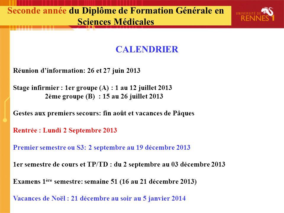 CALENDRIER Réunion dinformation: 26 et 27 juin 2013 Stage infirmier : 1er groupe (A) : 1 au 12 juillet 2013 2ème groupe (B) : 15 au 26 juillet 2013 Ge