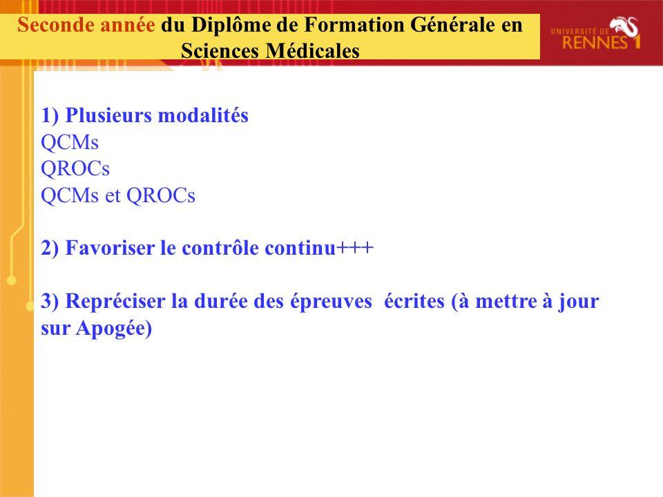 1) Plusieurs modalités QCMs QROCs QCMs et QROCs 2) Favoriser le contrôle continu+++ 3) Repréciser la durée des épreuves écrites (à mettre à jour sur A