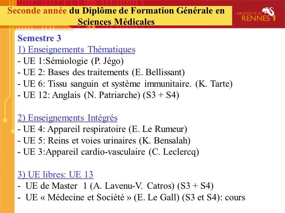 Semestre 3 1) Enseignements Thématiques - UE 1:Sémiologie (P. Jégo) - UE 2: Bases des traitements (E. Bellissant) - UE 6: Tissu sanguin et système imm