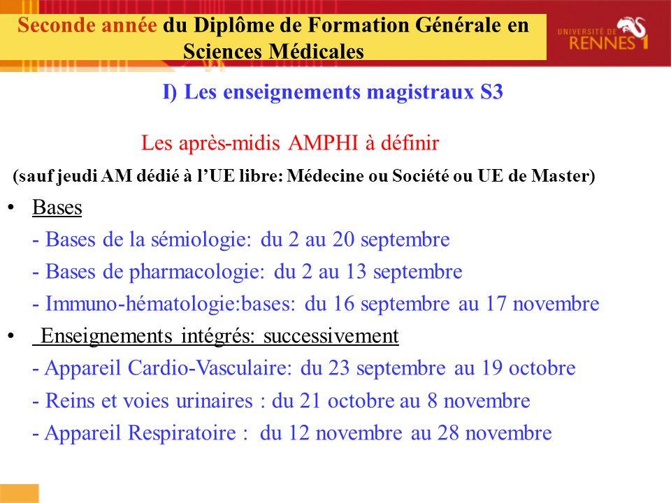 Seconde année du Diplôme de Formation Générale en Sciences Médicales I) Les enseignements magistraux S3 Les après-midis AMPHI à définir (sauf jeudi AM