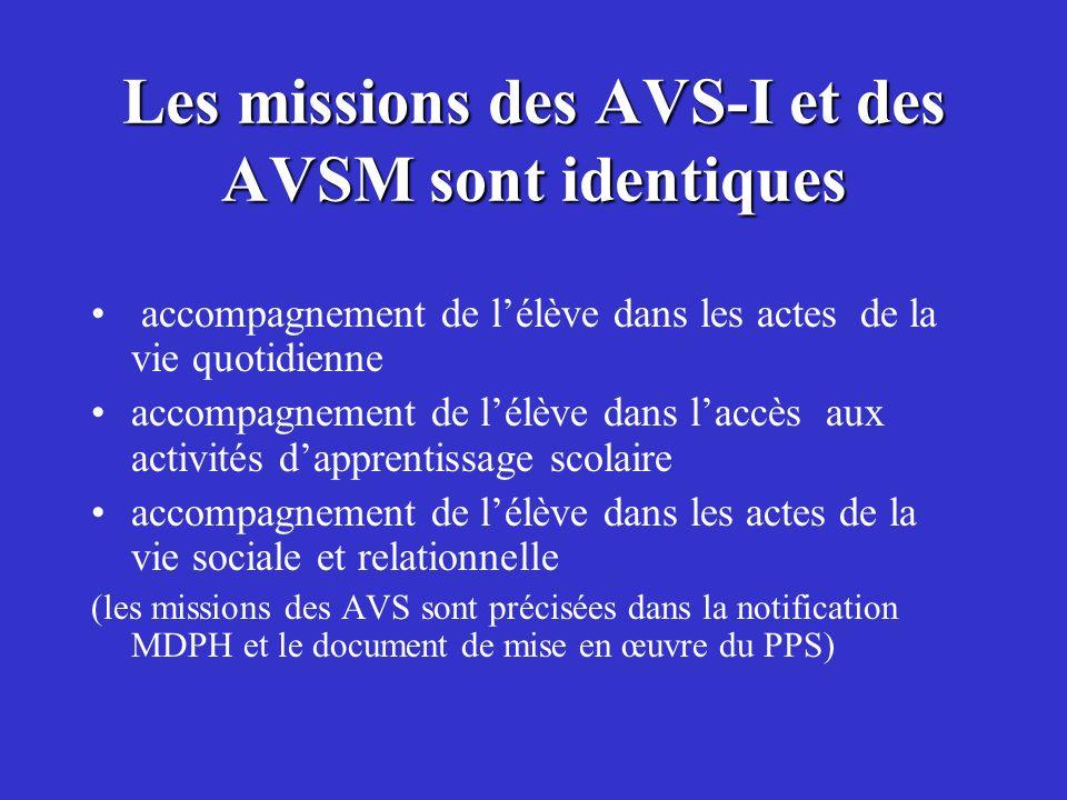 Les missions des AVS-I et des AVSM sont identiques accompagnement de lélève dans les actes de la vie quotidienne accompagnement de lélève dans laccès