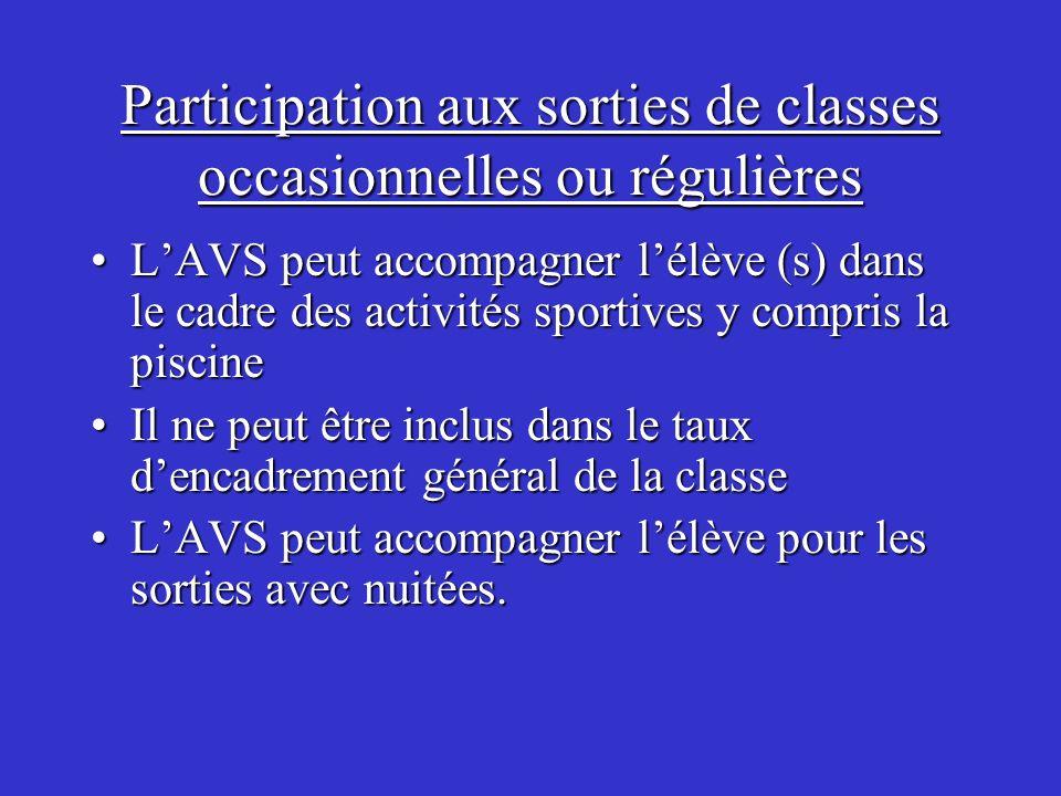 Participation aux sorties de classes occasionnelles ou régulières LAVS peut accompagner lélève (s) dans le cadre des activités sportives y compris la