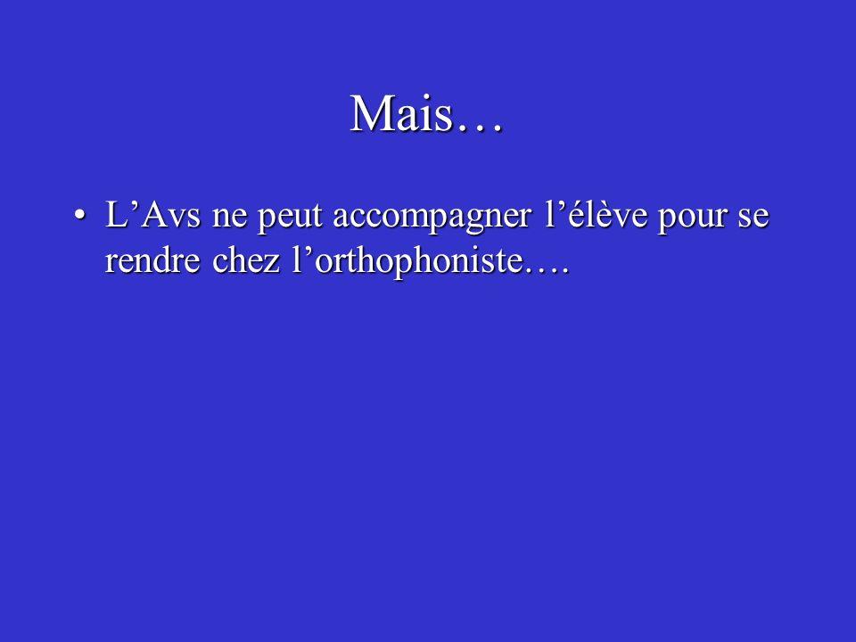 Mais… LAvs ne peut accompagner lélève pour se rendre chez lorthophoniste….LAvs ne peut accompagner lélève pour se rendre chez lorthophoniste….