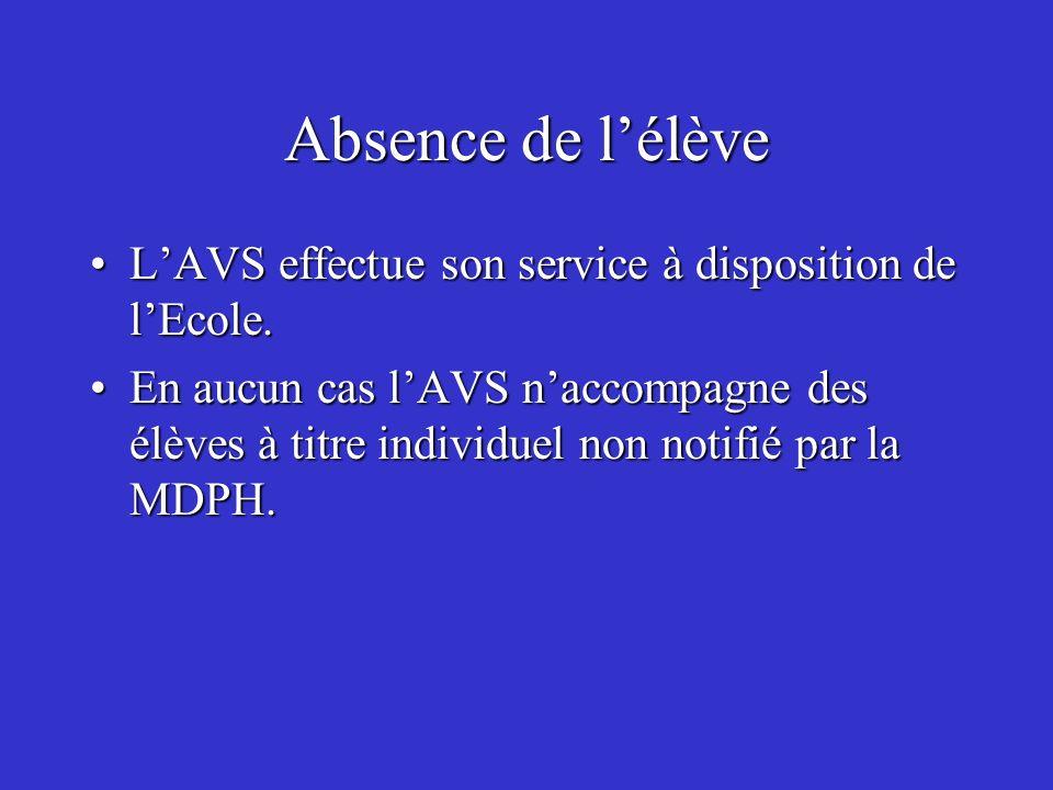 Absence de lélève LAVS effectue son service à disposition de lEcole.LAVS effectue son service à disposition de lEcole. En aucun cas lAVS naccompagne d