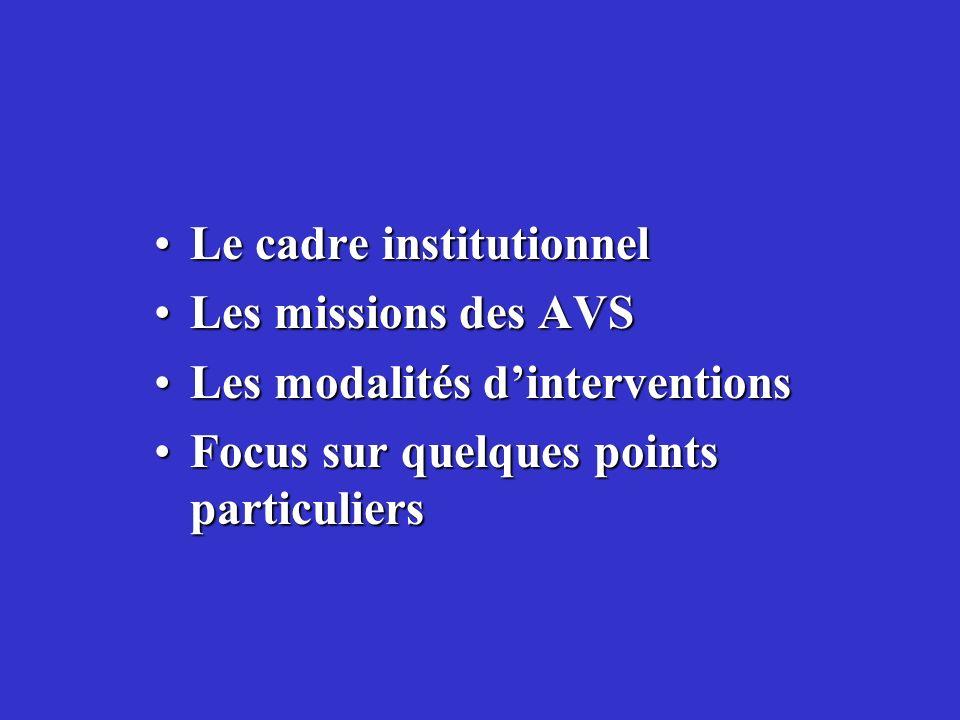 Le cadre institutionnelLe cadre institutionnel Les missions des AVSLes missions des AVS Les modalités dinterventionsLes modalités dinterventions Focus