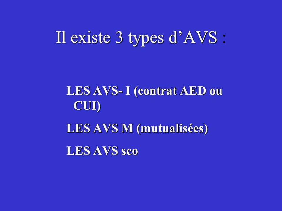 Il existe 3 types dAVS Il existe 3 types dAVS : LES AVS- I (contrat AED ou CUI) LES AVS M (mutualisées) LES AVS sco