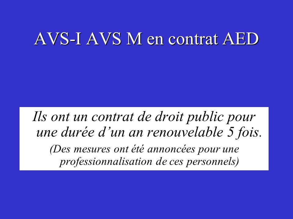 AVS-I AVS M en contrat AED Ils ont un contrat de droit public pour une durée dun an renouvelable 5 fois. (Des mesures ont été annoncées pour une profe
