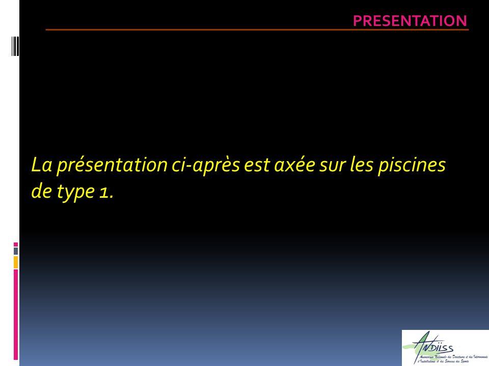 La présentation ci-après est axée sur les piscines de type 1. PRESENTATION
