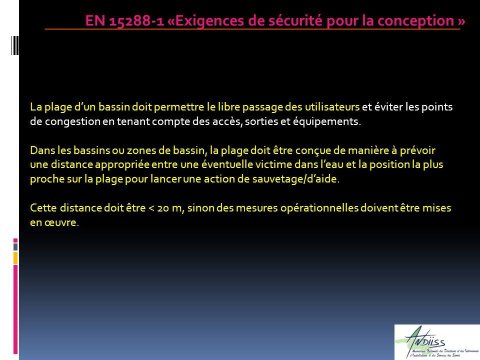 EN 15288-1 «Exigences de sécurité pour la conception » La plage dun bassin doit permettre le libre passage des utilisateurs et éviter les points de co