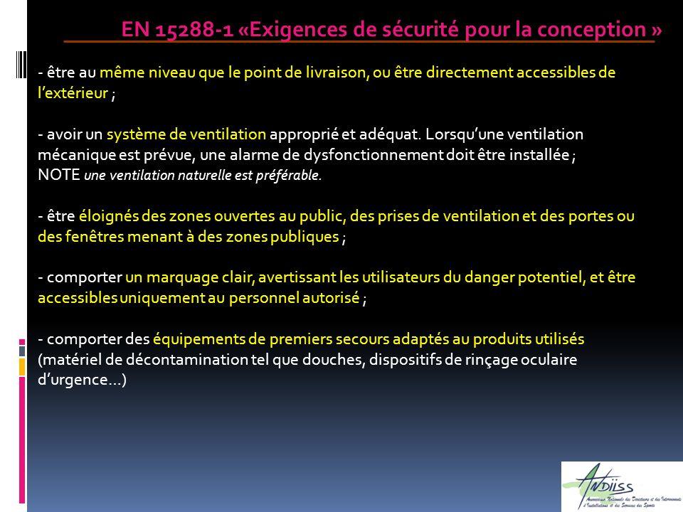 EN 15288-1 «Exigences de sécurité pour la conception » - être au même niveau que le point de livraison, ou être directement accessibles de lextérieur
