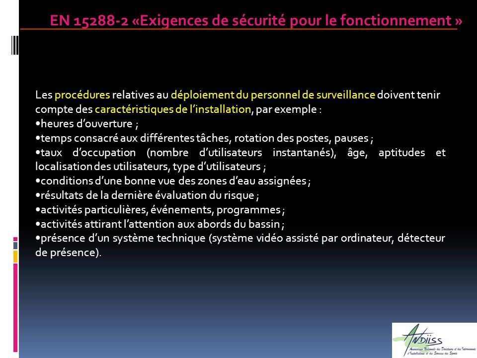 Les procédures relatives au déploiement du personnel de surveillance doivent tenir compte des caractéristiques de linstallation, par exemple : heures