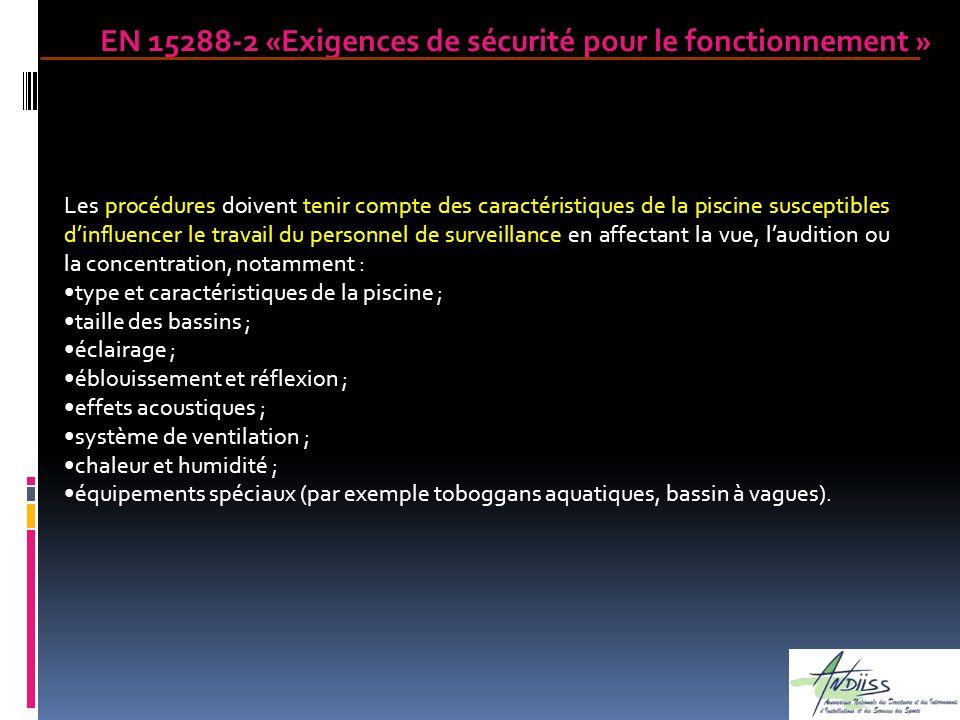 Les procédures doivent tenir compte des caractéristiques de la piscine susceptibles dinfluencer le travail du personnel de surveillance en affectant l