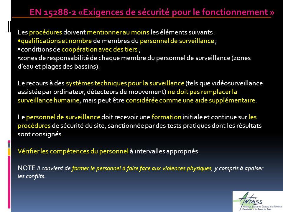 Les procédures doivent mentionner au moins les éléments suivants : qualifications et nombre de membres du personnel de surveillance ; conditions de co