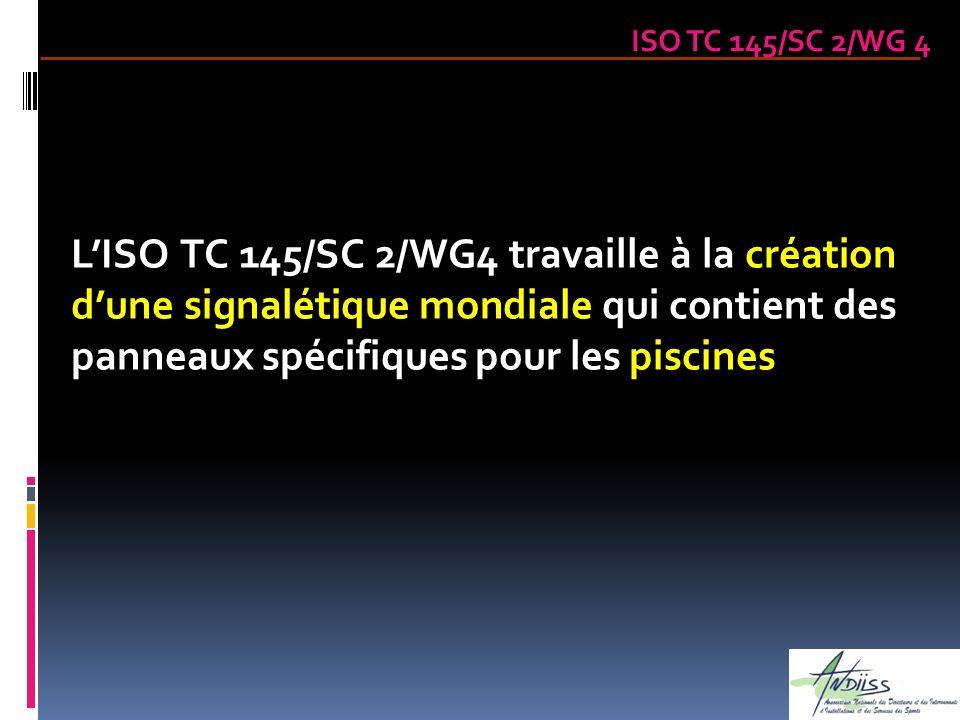 ISO TC 145/SC 2/WG 4 LISO TC 145/SC 2/WG4 travaille à la création dune signalétique mondiale qui contient des panneaux spécifiques pour les piscines
