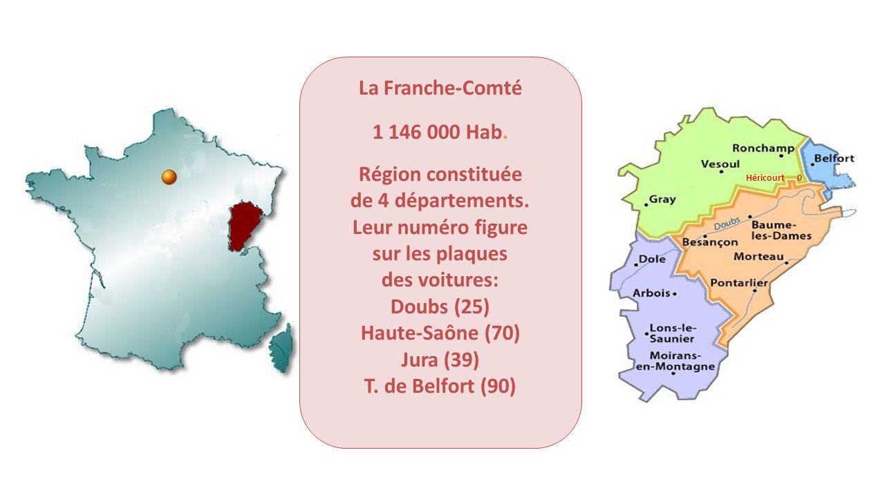 La Franche-Comté 1 146 000 Hab. Région constituée de 4 départements. Leur numéro figure sur les plaques des voitures: Doubs (25) Haute-Saône (70) Jura