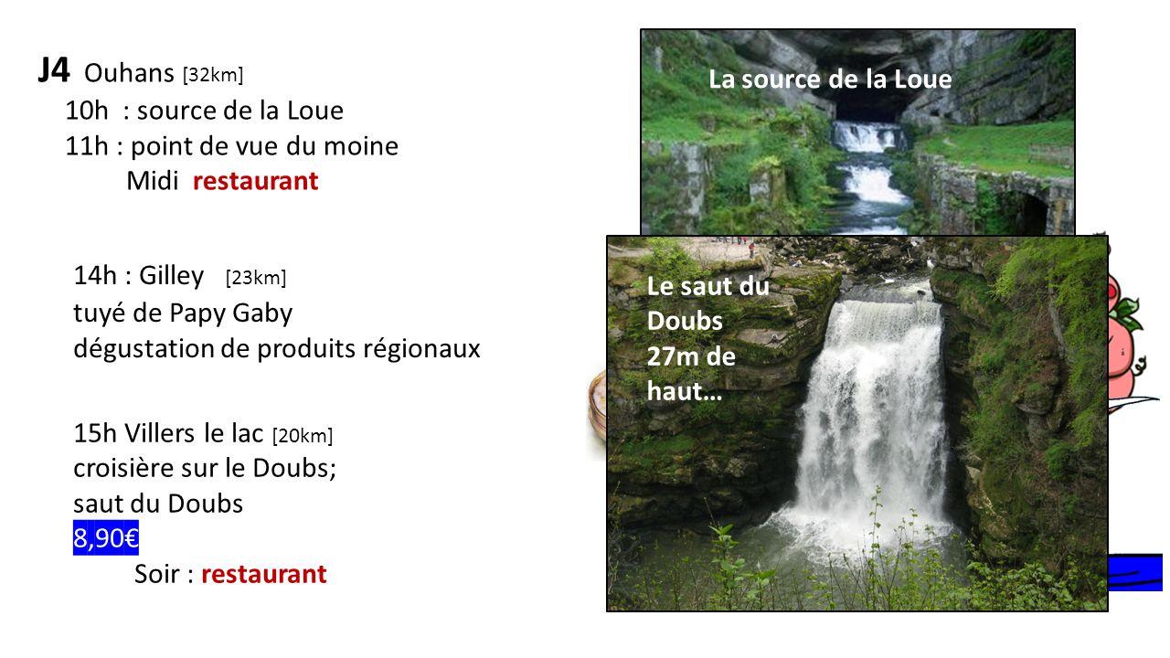 J4 Ouhans [32km] 10h : source de la Loue 11h : point de vue du moine Midi restaurant Mont dor comté Saucisse de Morteau 14h : Gilley [23km] tuyé de Pa
