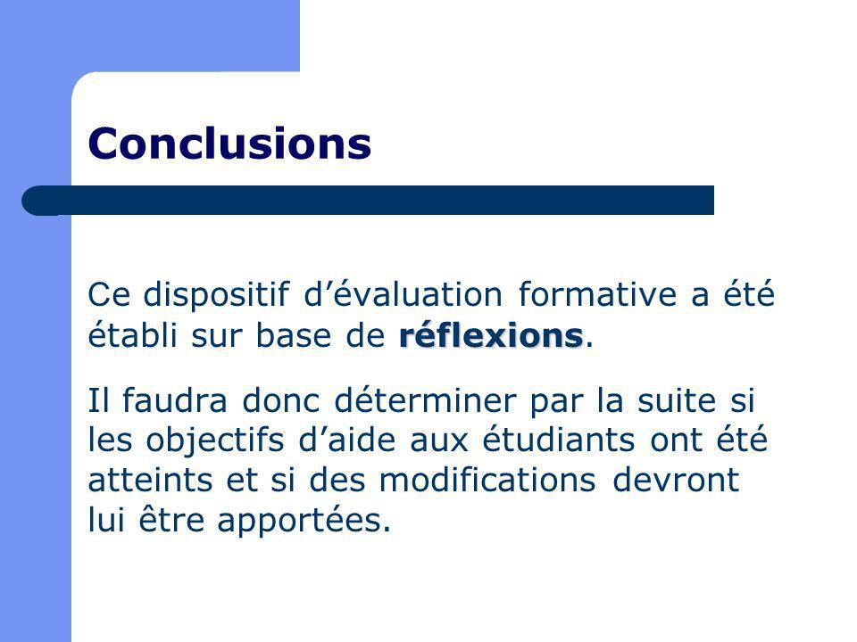 Conclusions réflexions C e dispositif dévaluation formative a été établi sur base de réflexions.