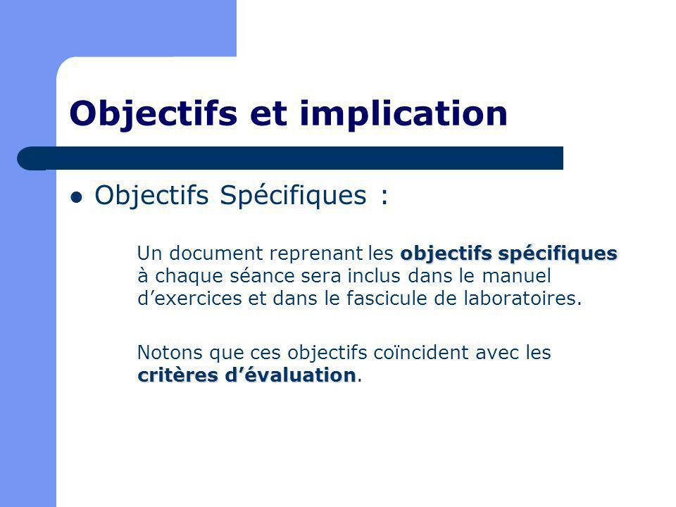 Objectifs et implication Objectifs Spécifiques : objectifs spécifiques Un document reprenant les objectifs spécifiques à chaque séance sera inclus dans le manuel dexercices et dans le fascicule de laboratoires.