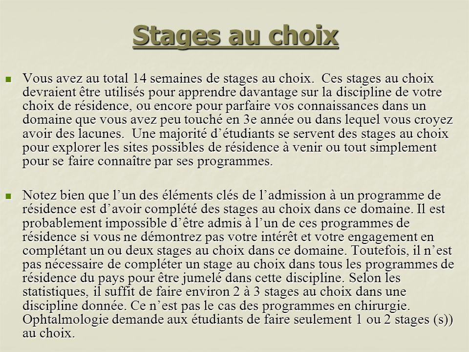Stages au choix Vous avez au total 14 semaines de stages au choix. Ces stages au choix devraient être utilisés pour apprendre davantage sur la discipl
