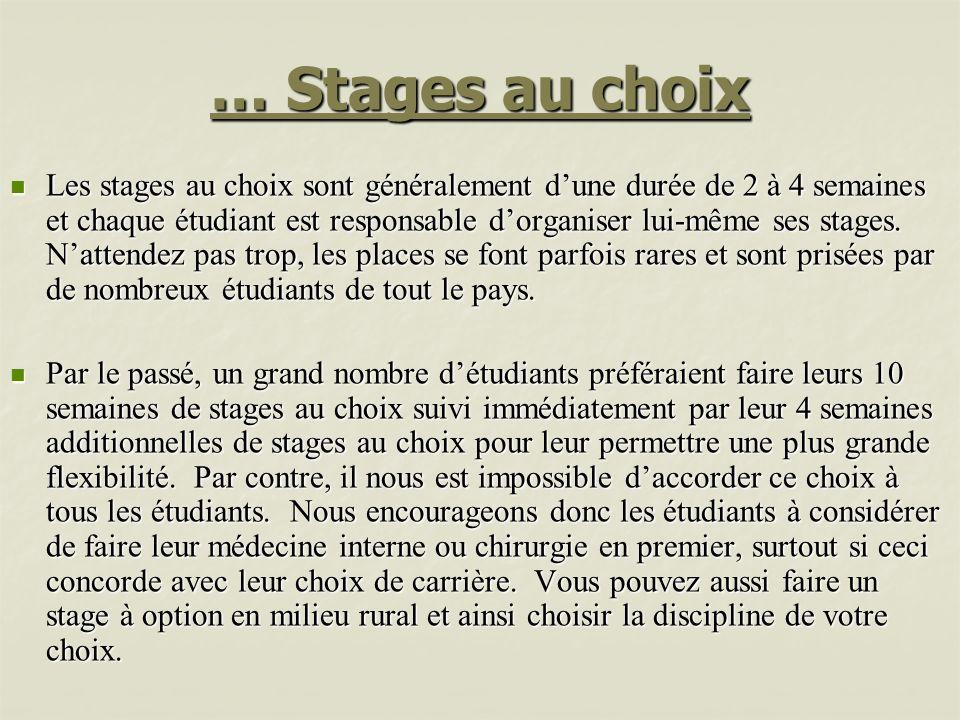 … Stages au choix Les stages au choix sont généralement dune durée de 2 à 4 semaines et chaque étudiant est responsable dorganiser lui-même ses stages