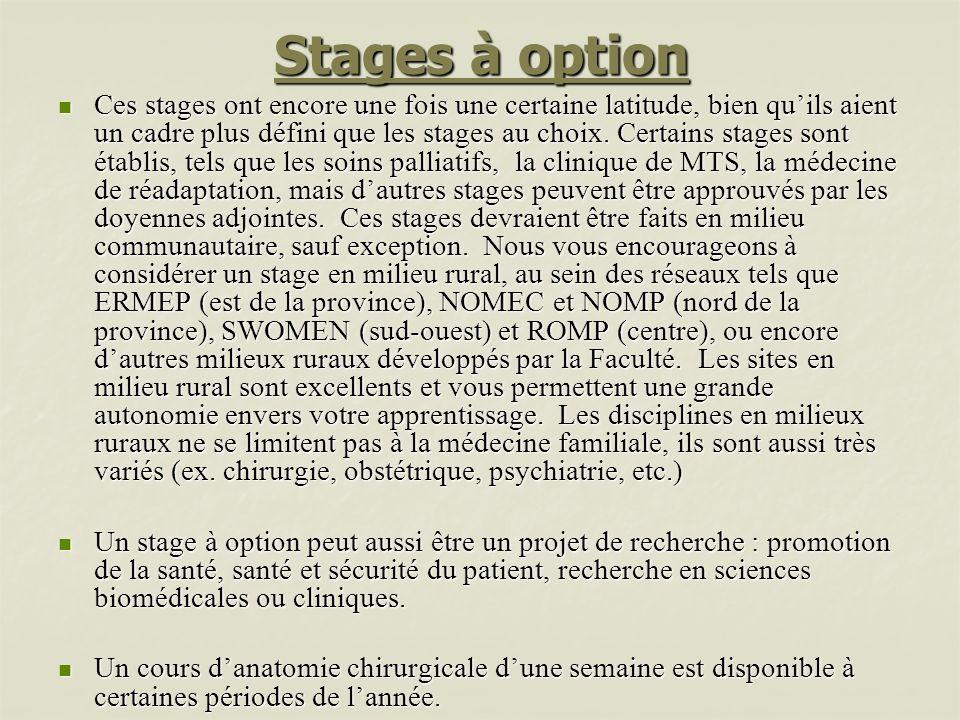 Stages à option Ces stages ont encore une fois une certaine latitude, bien quils aient un cadre plus défini que les stages au choix. Certains stages s