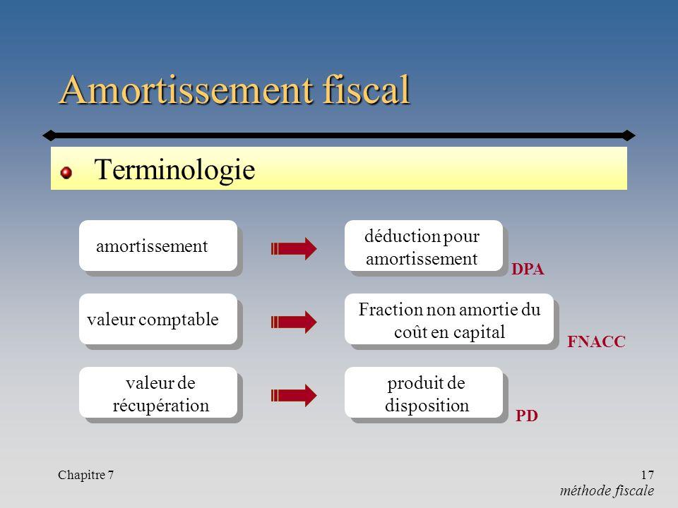 Chapitre 717 Amortissement fiscal Terminologie méthode fiscale amortissement valeur de récupération valeur comptable déduction pour amortissement DPA Fraction non amortie du coût en capital FNACC produit de disposition PD