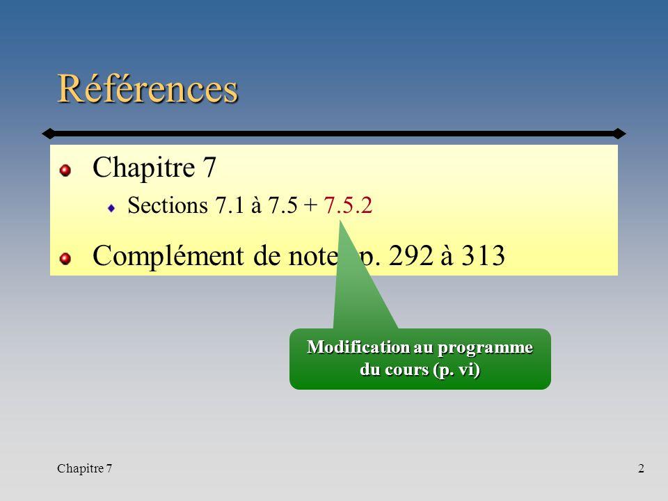 Chapitre 72 Références Sections 7.1 à 7.5 + 7.5.2 Complément de notes p. 292 à 313 Modification au programme du cours (p. vi)