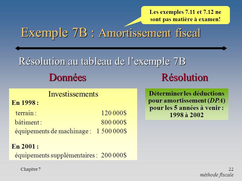 Chapitre 722 Exemple 7B : Amortissement fiscal méthode fiscale RésolutionDonnées Investissements En 1998 : terrain : 120 000$ bâtiment : 800 000$ équi