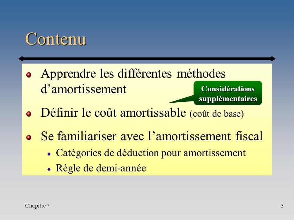 Chapitre 73 Contenu Apprendre les différentes méthodes damortissement Définir le coût amortissable (coût de base) Se familiariser avec lamortissement