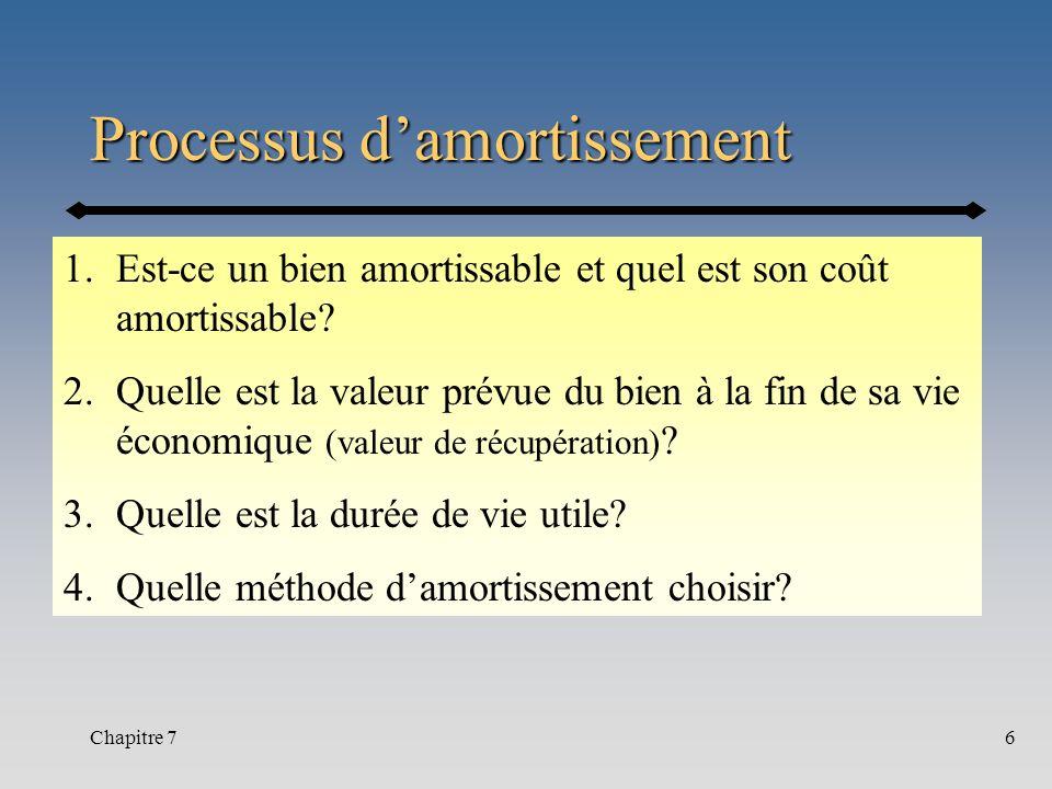 Chapitre 76 Processus damortissement 1.Est-ce un bien amortissable et quel est son coût amortissable? 2.Quelle est la valeur prévue du bien à la fin d