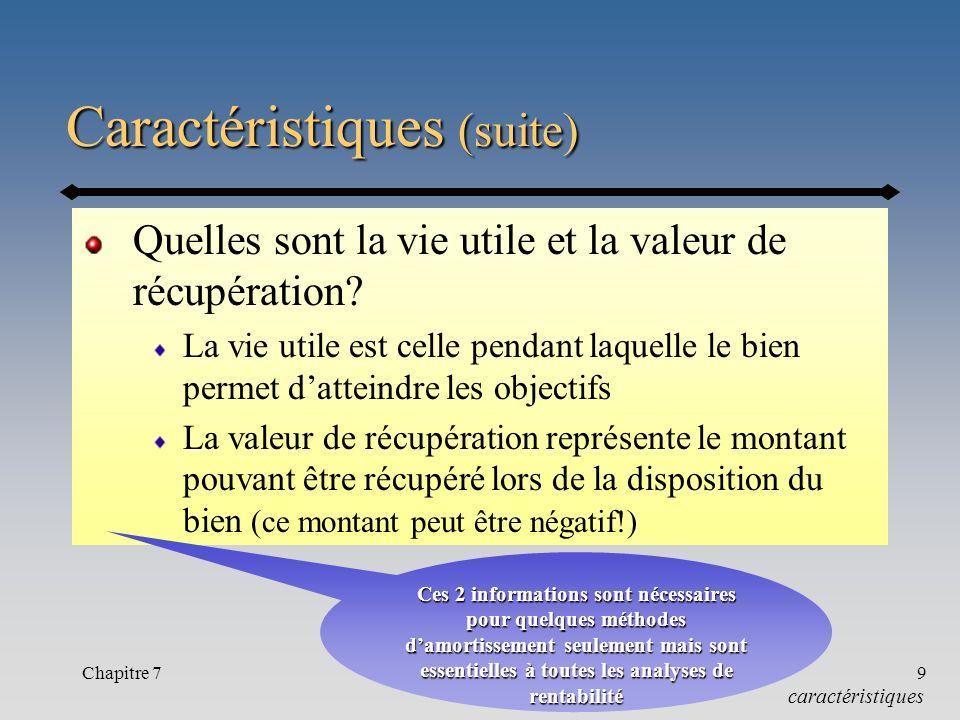 Chapitre 79 Caractéristiques (suite) Quelles sont la vie utile et la valeur de récupération.