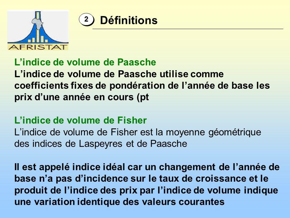Lindice de volume de Paasche Lindice de volume de Paasche utilise comme coefficients fixes de pondération de lannée de base les prix dune année en cou