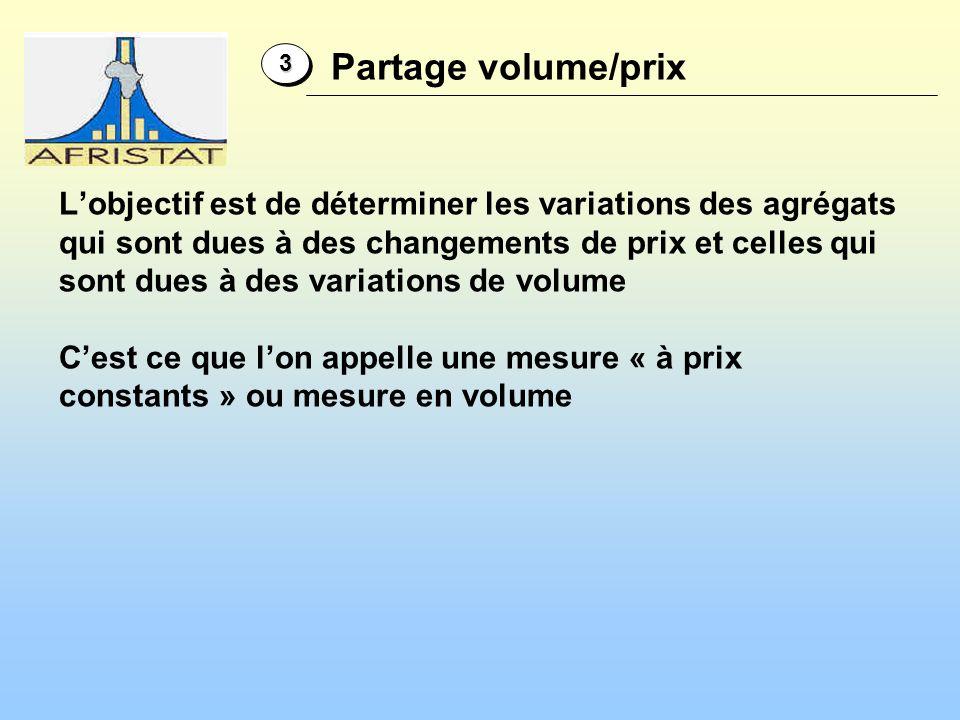 Lobjectif est de déterminer les variations des agrégats qui sont dues à des changements de prix et celles qui sont dues à des variations de volume Ces