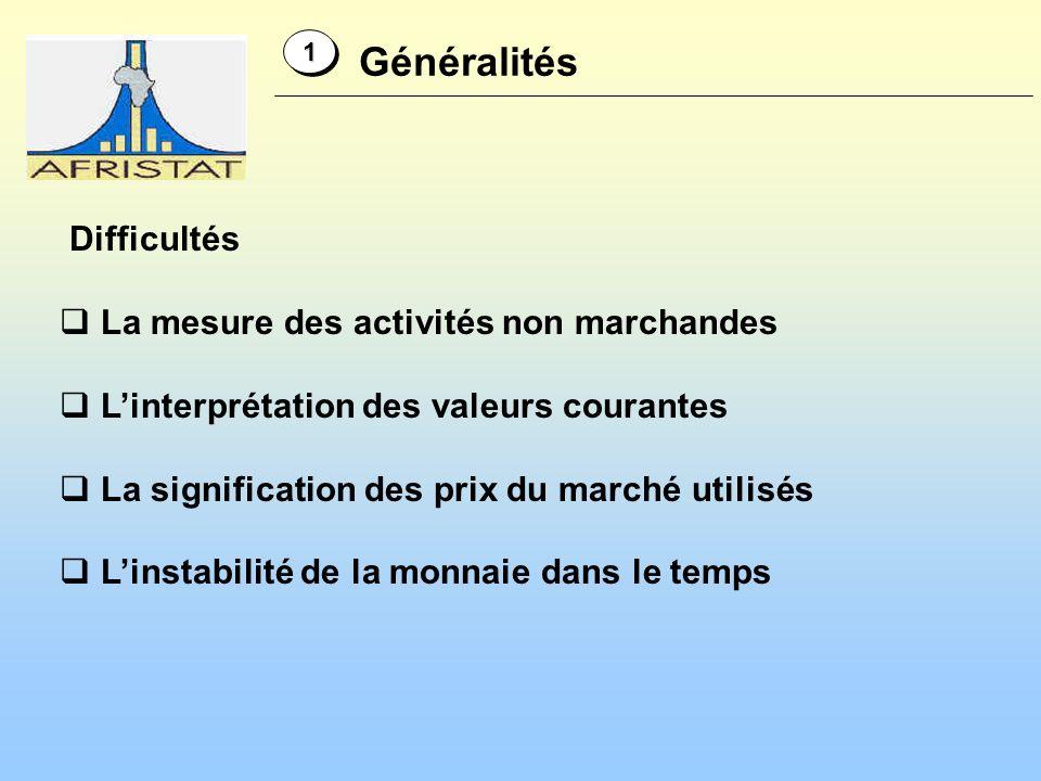 Généralités 11 Difficultés La mesure des activités non marchandes Linterprétation des valeurs courantes La signification des prix du marché utilisés L