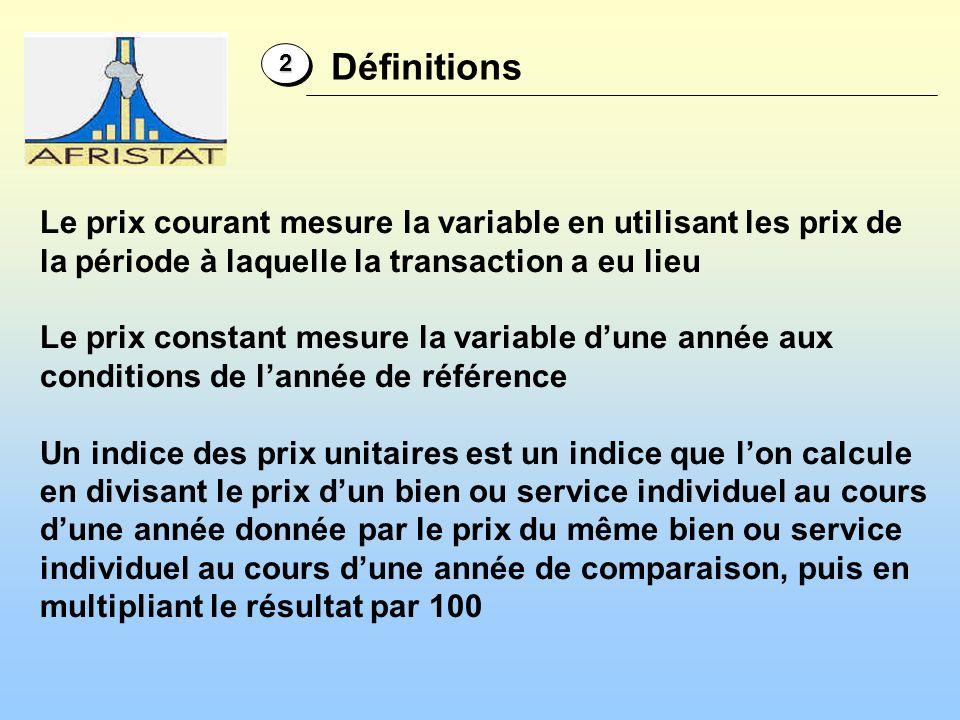 22 Définitions Le prix courant mesure la variable en utilisant les prix de la période à laquelle la transaction a eu lieu Le prix constant mesure la v