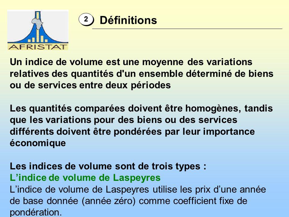 Un indice de volume est une moyenne des variations relatives des quantités d'un ensemble déterminé de biens ou de services entre deux périodes Les qua