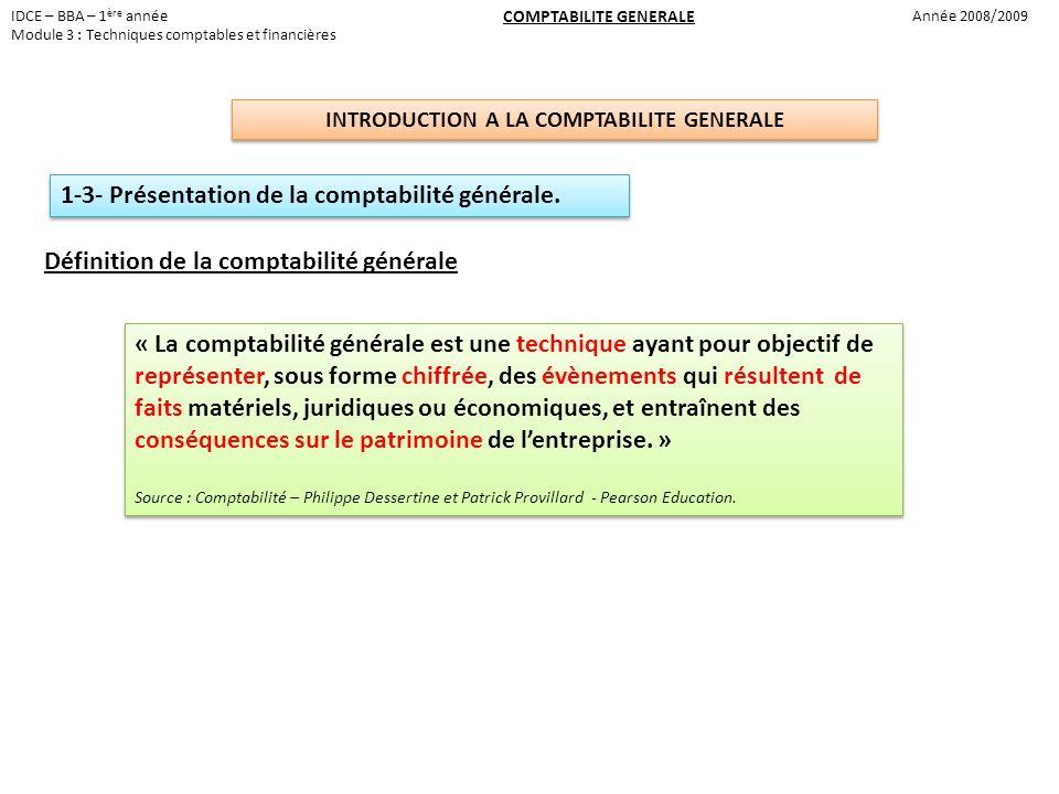 IDCE – BBA – 1 ère année Module 3 : Techniques comptables et financières COMPTABILITE GENERALE Année 2008/2009 INTRODUCTION A LA COMPTABILITE GENERALE