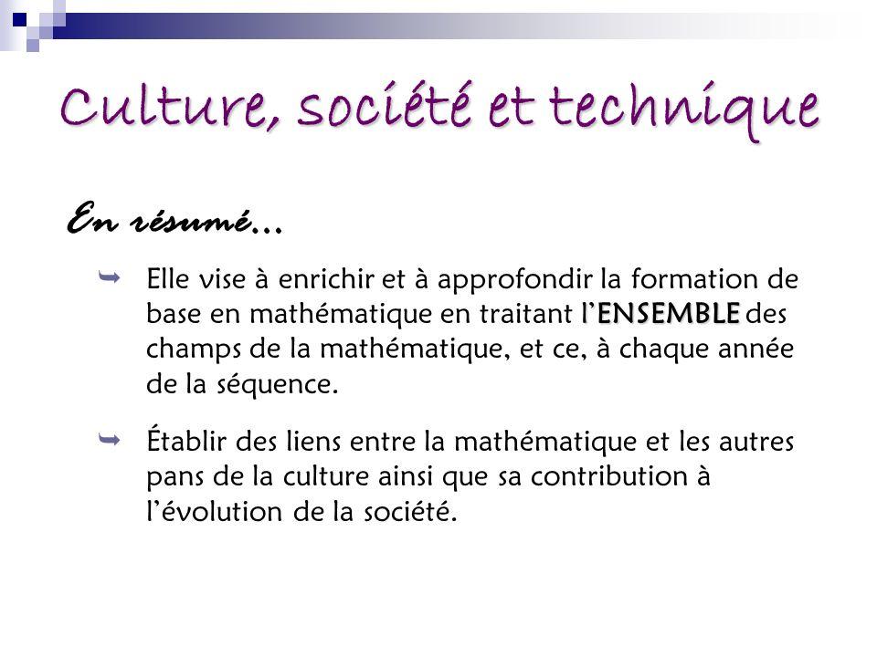 Culture, société et technique En résumé… lENSEMBLE Elle vise à enrichir et à approfondir la formation de base en mathématique en traitant lENSEMBLE des champs de la mathématique, et ce, à chaque année de la séquence.