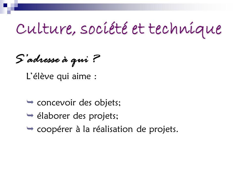 Culture, société et technique Sadresse à qui ? Lélève qui aime : concevoir des objets; élaborer des projets; coopérer à la réalisation de projets.