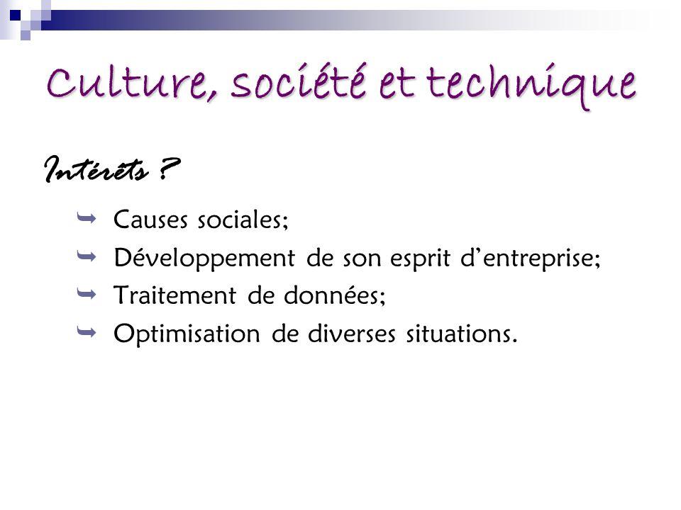 Culture, société et technique Intérêts .