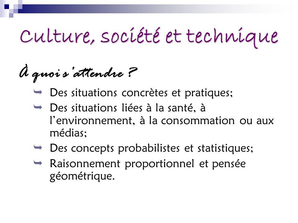 Culture, société et technique À quoi sattendre ? Des situations concrètes et pratiques; Des situations liées à la santé, à lenvironnement, à la consom