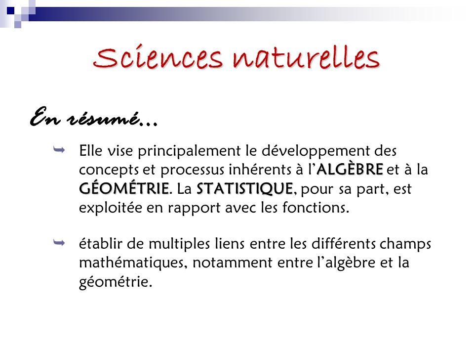 Sciences naturelles En résumé… ALGÈBRE GÉOMÉTRIESTATISTIQUE Elle vise principalement le développement des concepts et processus inhérents à lALGÈBRE et à la GÉOMÉTRIE.