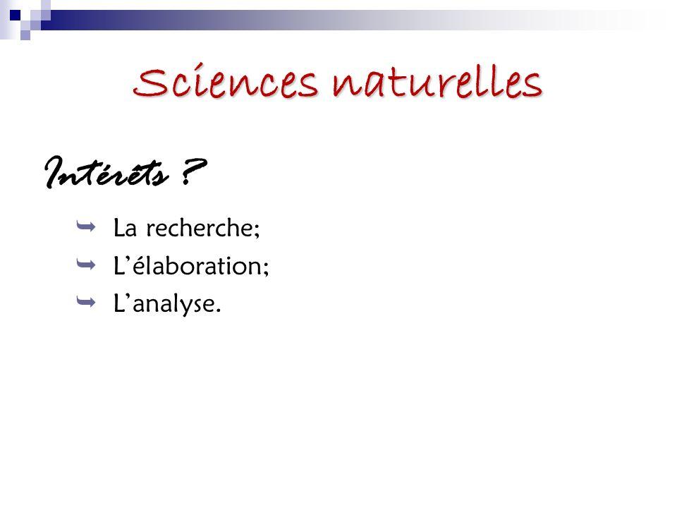 Sciences naturelles À quoi sattendre .