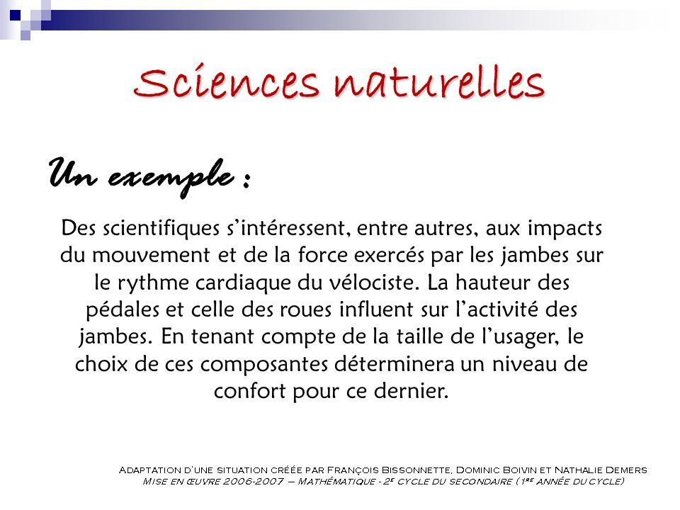 Sciences naturelles Un exemple : Des scientifiques sintéressent, entre autres, aux impacts du mouvement et de la force exercés par les jambes sur le rythme cardiaque du vélociste.