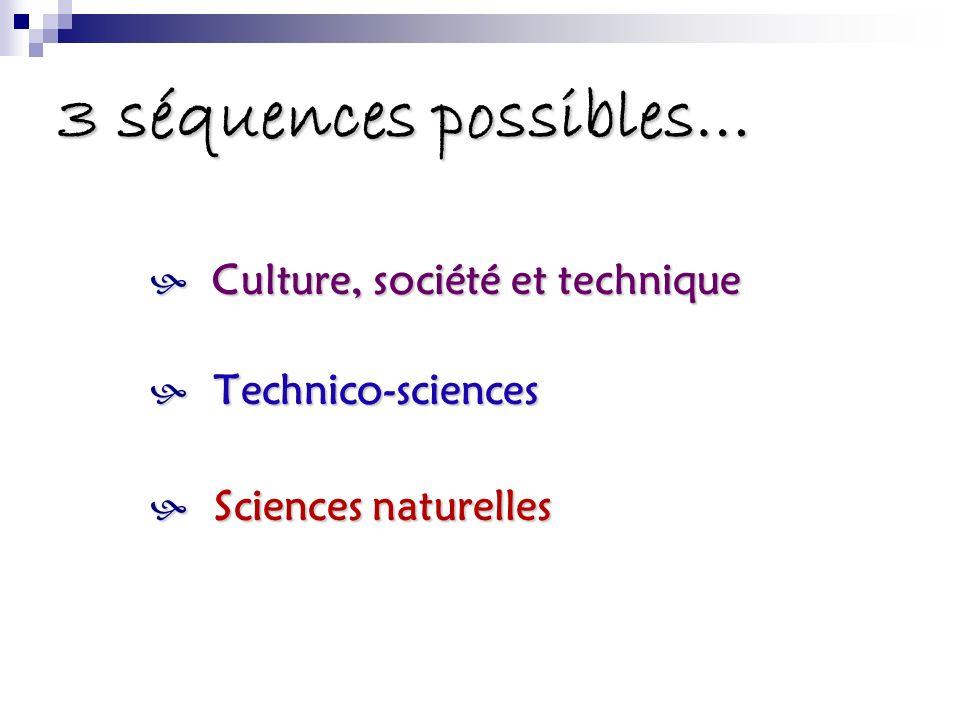 3 séquences possibles… Culture, société et technique Culture, société et technique Technico-sciences Technico-sciences Sciences naturelles Sciences na