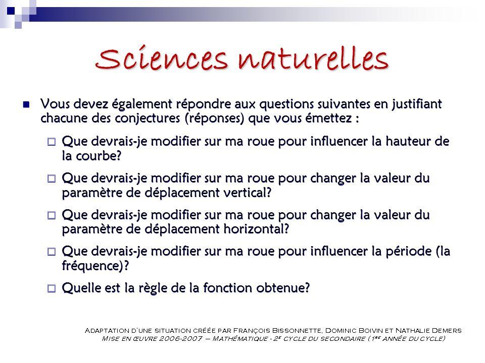 Sciences naturelles Vous devez également répondre aux questions suivantes en justifiant chacune des conjectures (réponses) que vous émettez : Que devrais-je modifier sur ma roue pour influencer la hauteur de la courbe.