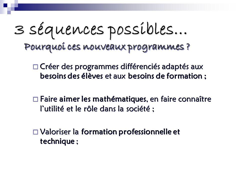 3 séquences possibles… Créer des programmes différenciés adaptés aux besoins des élèves et aux besoins de formation ; Faire aimer les mathématiques, e